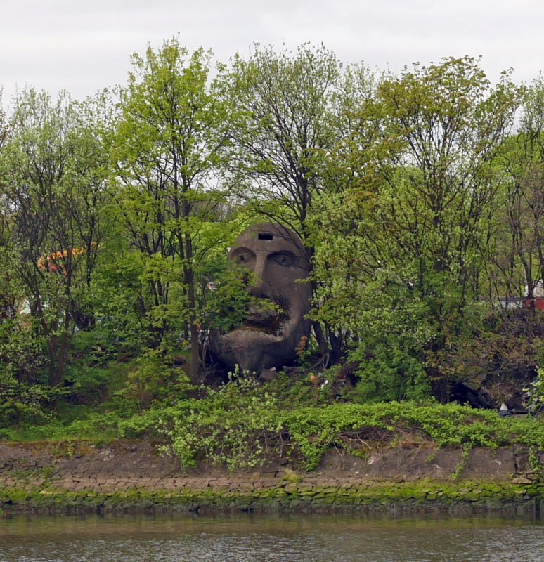 View of the Floating Head sculpture, taken from the N bank of the River Clyde.