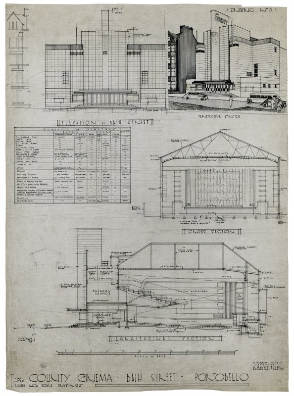 The County Cinema, Portobello, elevation, perspective sketch and sections.