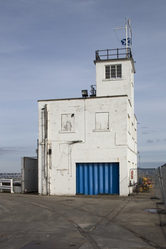 Control tower at end of pier, view from west