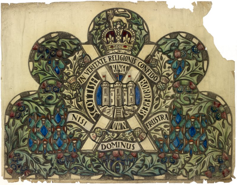 Cartoon of stained glass memorial window commemorating the Kings Own Scottish Borderers