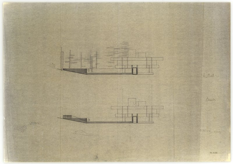 Drawing showing sections of the Bernat Klein Studio