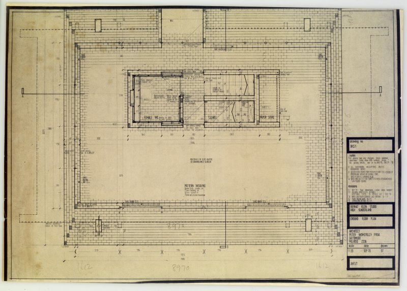 Drawing showing ground floor plan of the Bernat Klein Studio