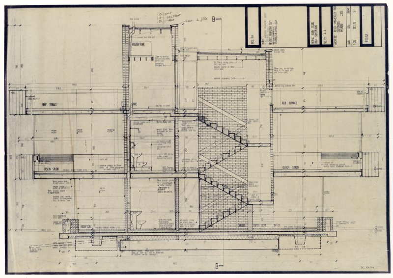 Drawing showing section A-A of the Bernat Klein Studio