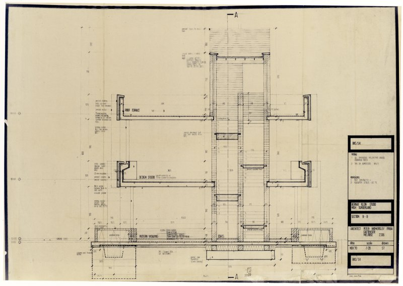 Drawing showing section B-B of the Bernat Klein Studio