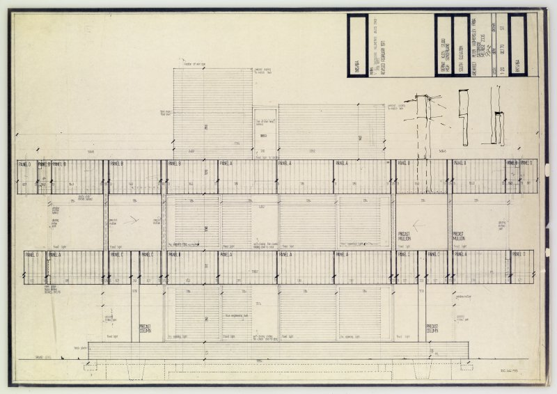 Drawing showing south elevation of the Bernat Klein Studio