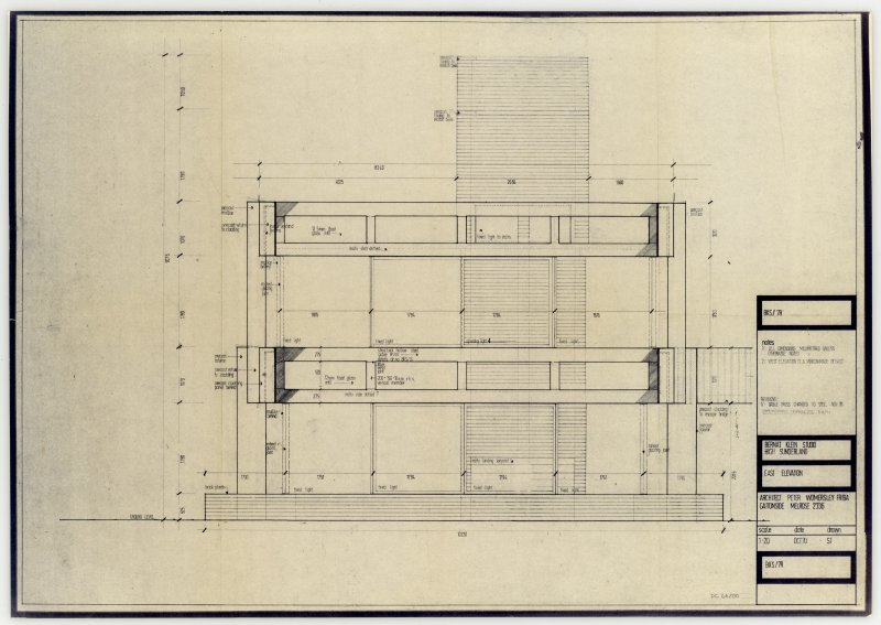 Drawing showing east elevation of the Bernat Klein Studio