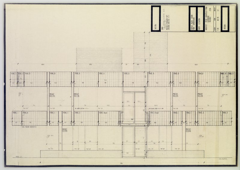 Drawing showing north elevation of the Bernat Klein Studio
