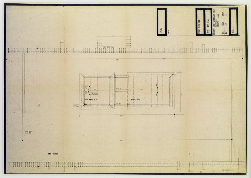 Drawing showing upper roof plan of the Bernat Klein Studio