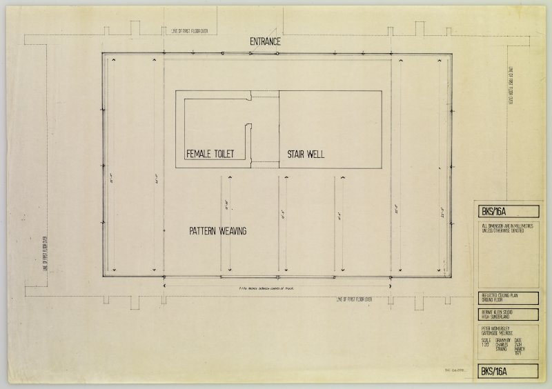 Drawing showing reflected ground floor ceiling plan of the Bernat Klein Studio