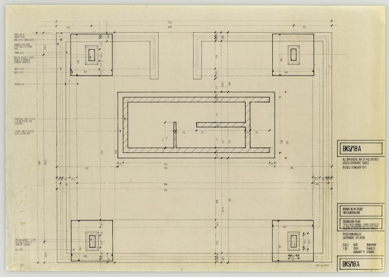 Drawing showing foundation plan of the Bernat Klein Studio