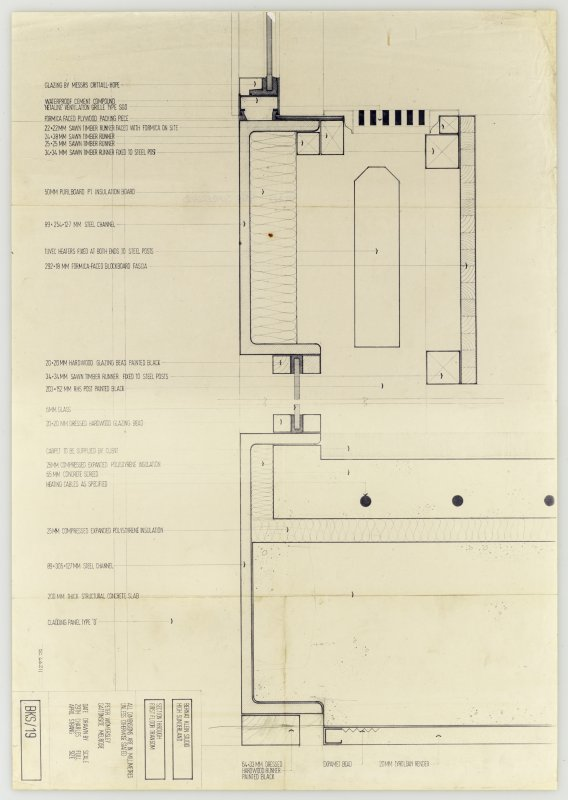 Drawing showing section through first floor transom, Bernat Klein Studio