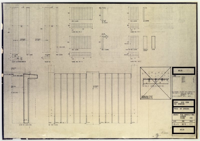 Drawing showing precast unit dimensions, Bernat Klein Studio