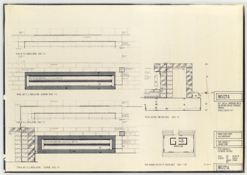Drawing showing tuvec heaters on ground floor of the Bernat Klein Studio