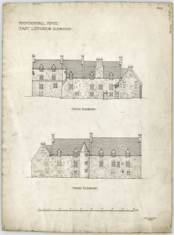 N and S elevations.