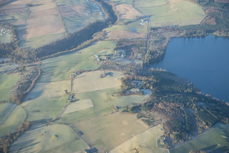 General oblique aerial view centred on Lintrathen Main Lodge, looking W.