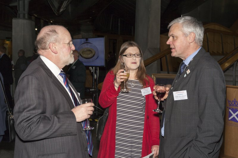 Gill Poulter (Heritage and Exhibitions Director Dundee Heritage Trust) and David Mann (Director, Scottish Maritime Museum) at the Celebrating James Watt: inventor, polymath, genius event at Holyrood Garden Lobby, 19th January 2016