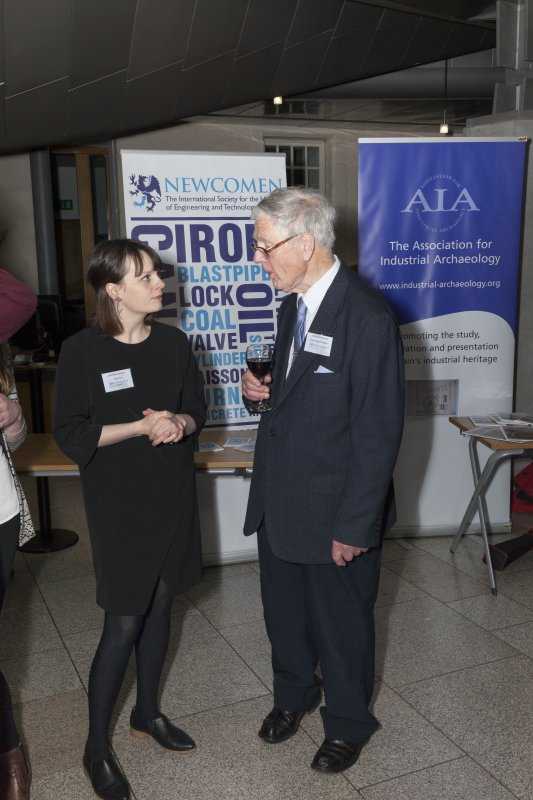 Elsa Cox (National Museums Scotland (Science and Technology) and Newcomen Society (Scottish Branch)) and Professor Roland Paxton (Heriot Watt University) at the Celebrating James Watt: inventor, polymath, genius event at Holyrood Garden Lobby, 19th January 2016
