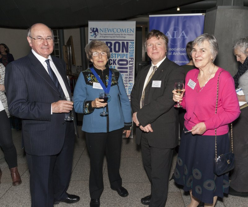 Robert Rolo (Scottish Industrial Heritage Society (SIHS)), Professor Marilyn Palmer (The Association for Industrial Archaeology (AIA)), Mark Watson (Historic Environment Scotland) and Margaret Rolo (SIHS) at the Celebrating James Watt: inventor, polymath, genius event at Holyrood Garden Lobby, 19th January 2016
