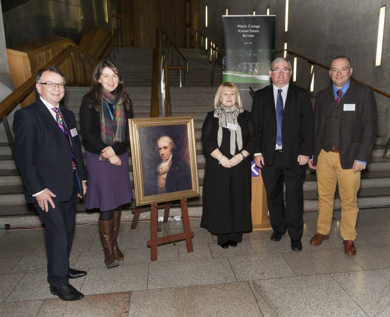 Professor Gordon Masterton (University of Edinburgh), Aileen Campbell MSP, (Scottish Government Minister for Children and Young People), James Watt,  Maria Ford (The Friends of Kinneil), Angus MacDonald MSP (Falkirk East)and DAvid Mitchell (Historic Environment Scotland) at the Celebrating James Watt: inventor, polymath, genius event at Holyrood Garden Lobby, 19th January 2016
