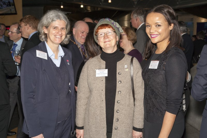 Professor Tracey Howe (Glasgow City of Science), Dr Nina Baker (Womens Engineering Society) and Dr Susie Mitchell (Glasgow Science Centre) at the Celebrating James Watt: inventor, polymath, genius event at Holyrood Garden Lobby, 19th January 2016