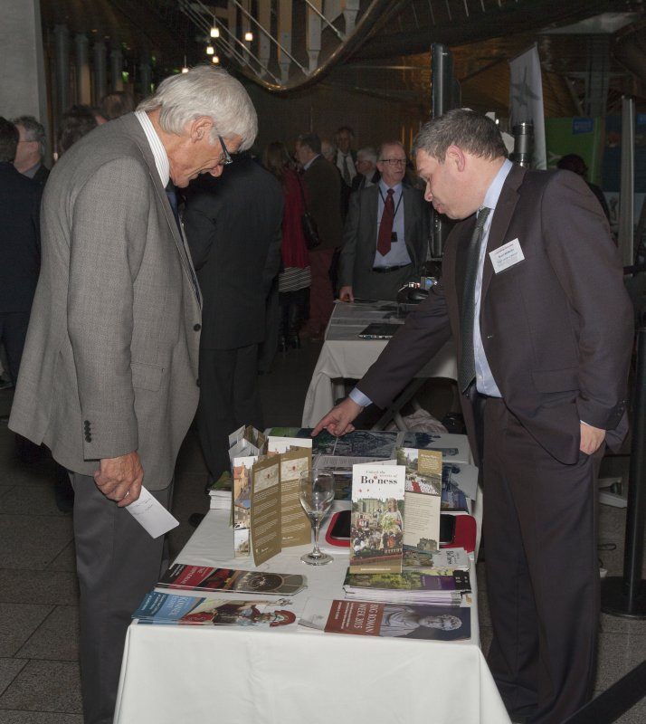 The Friends of Kinneil stand (with Stuart McMartin (Vice-Chair)) at the Celebrating James Watt: inventor, polymath, genius event at Holyrood Garden Lobby, 19th January 2016