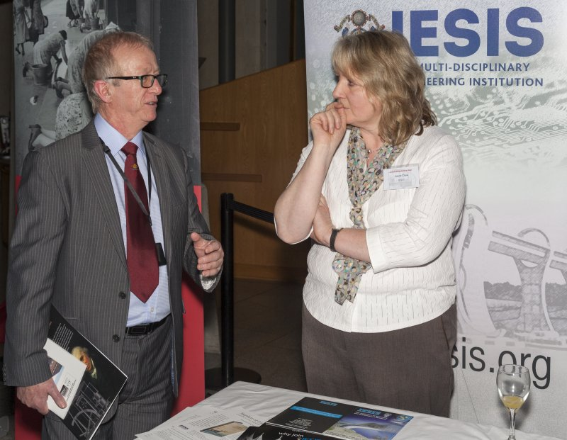 The Institute for Engineering and Shipbuilding in Scotland (IESIS) stand with Laura Clow (IESIS) at the Celebrating James Watt: inventor, polymath, genius event at Holyrood Garden Lobby, 19th January 2016?, Crawford Gorrie (IESIS) and Laura Clow (IESIS) at the Celebrating James Watt: inventor, polymath, genius event at Holyrood Garden Lobby, 19th January 2016