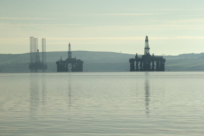 View of oil platforms from east pier to north