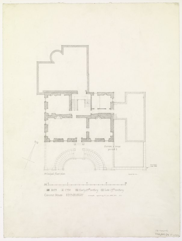 Cammo House Principal floor plan showing different building periods Insc: 'Cammo House, Edinburgh' Signed and dated: 'surveyed 19/2/76 by S.S., H.L., D.B., D.P.    G.S.'