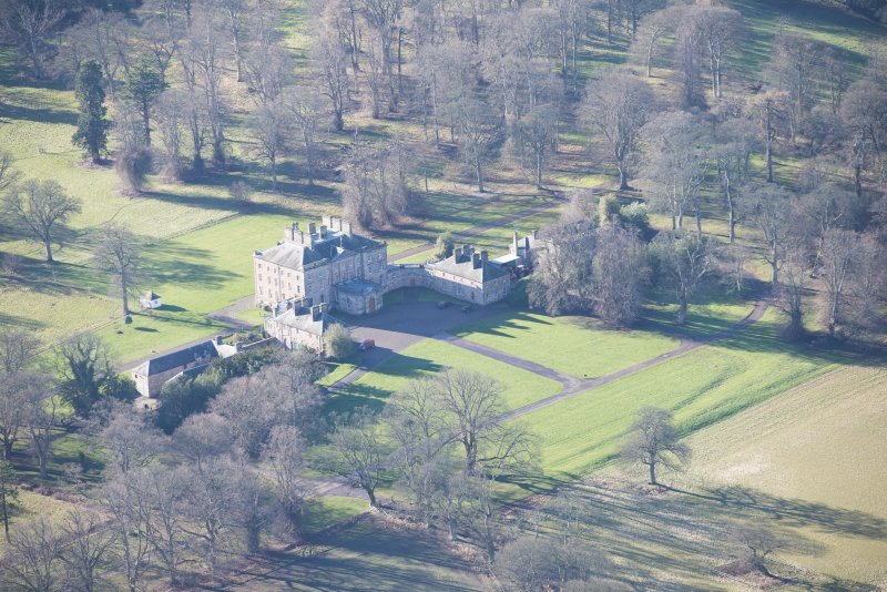 Oblique aerial view of Arniston House, looking S.