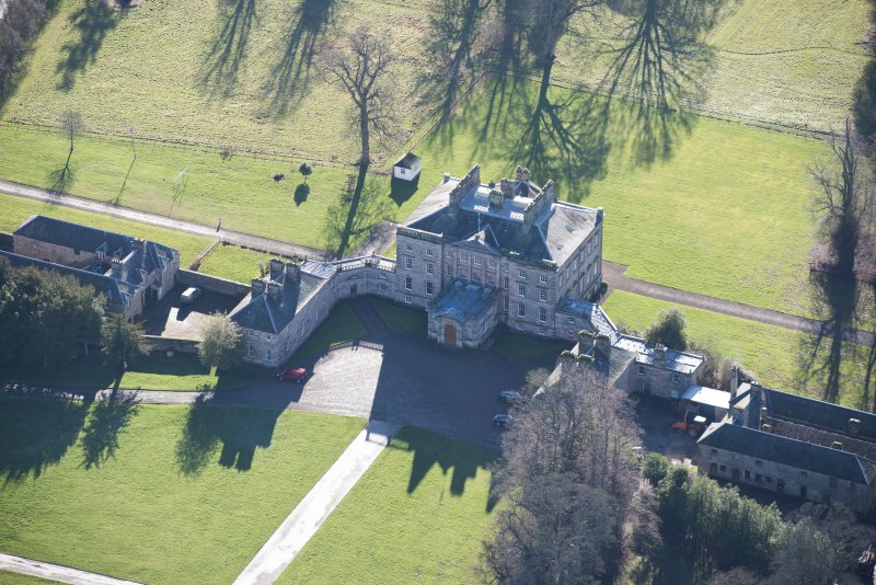 Oblique aerial view of Arniston House, looking SSE.