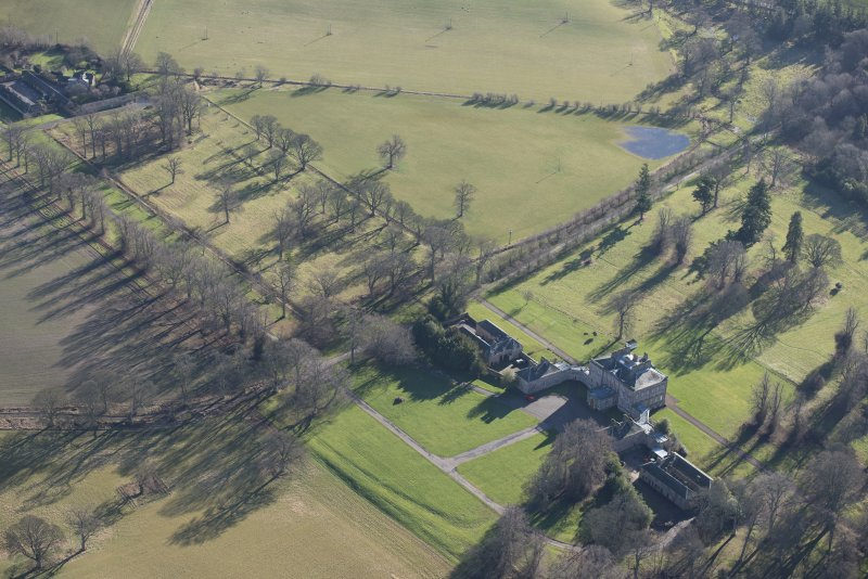 Oblique aerial view of Arniston House, looking SE.