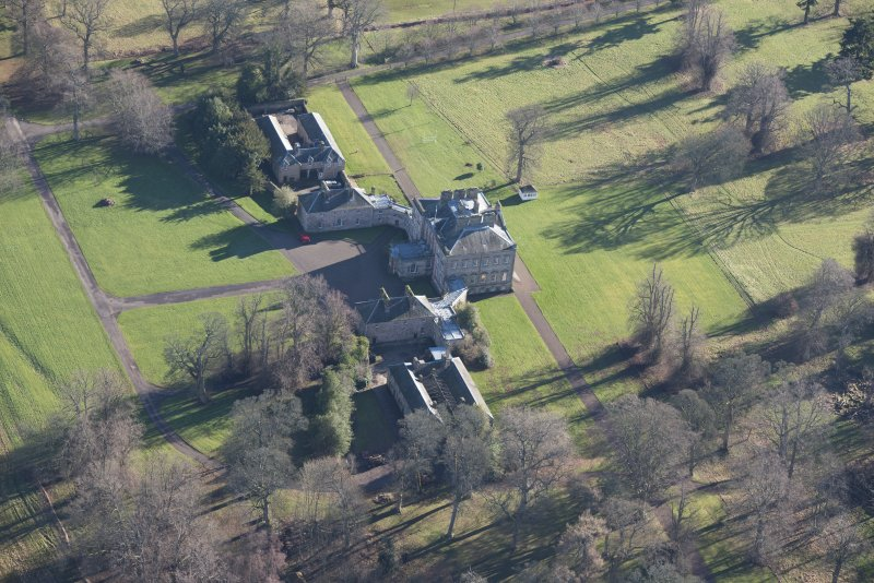 Oblique aerial view of Arniston House, looking E.