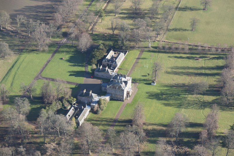 Oblique aerial view of Arniston House, looking ENE.