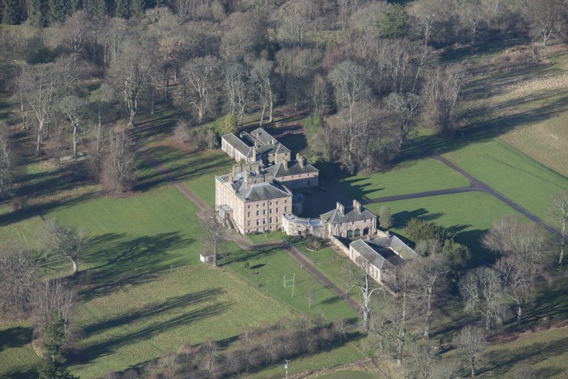 Oblique aerial view of Arniston House, looking NW.