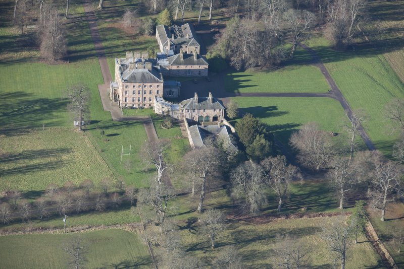 Oblique aerial view of Arniston House, looking WNW.