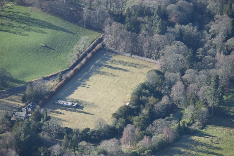 Oblique aerial view of Arniston House walled garden, looking WSW.