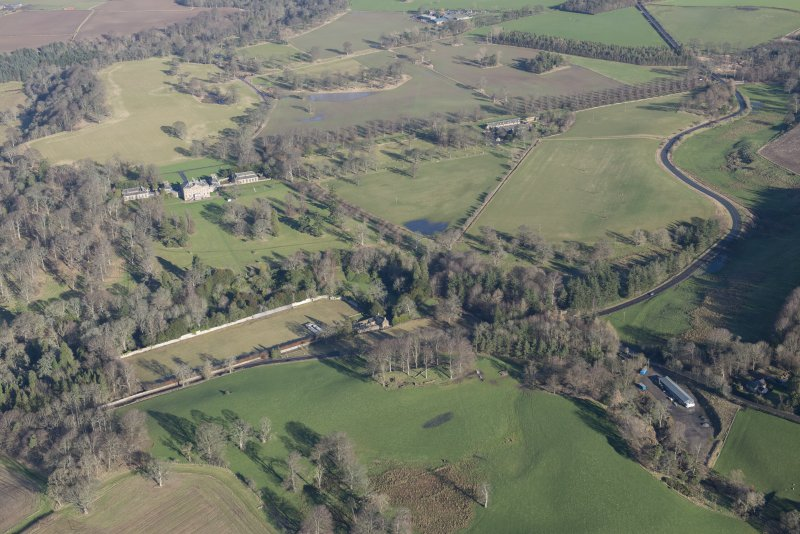 General oblique aerial view of Arniston House and walled garden, looking S.