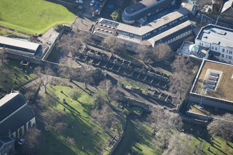 Oblique aerial view of Greyfriars Churchyard Extension, looking NE.