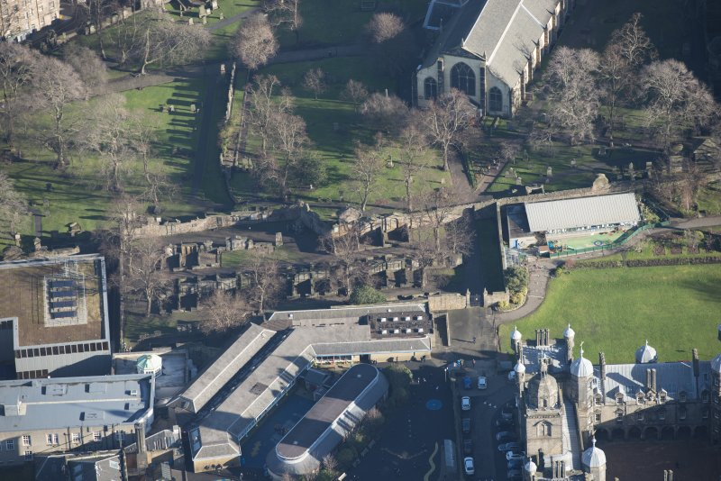 Oblique aerial view of Greyfriars Churchyard Extension, looking ENE.