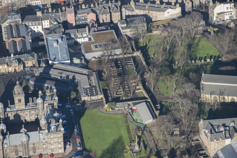 Oblique aerial view of Greyfriars Churchyard Extension, looking NNW.