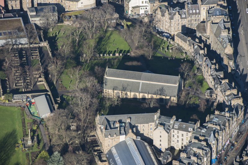 Oblique aerial view of Greyfriars Church and Churchyard, looking SSW.