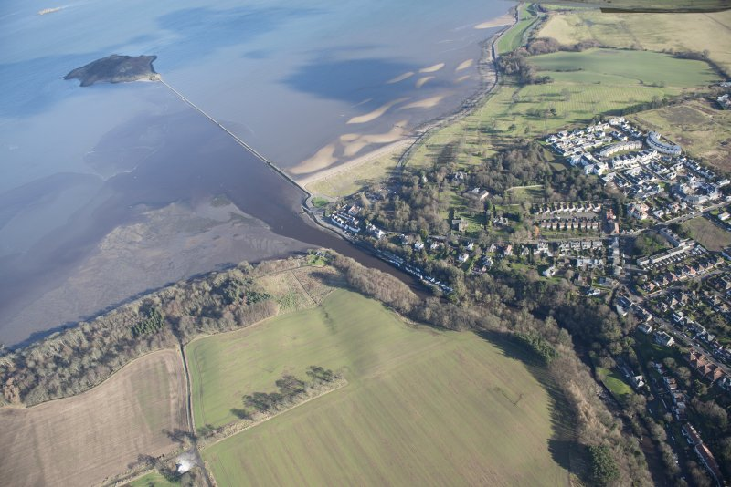 Oblique aerial view of Cramond Village and Cramond Island, looking ENE.