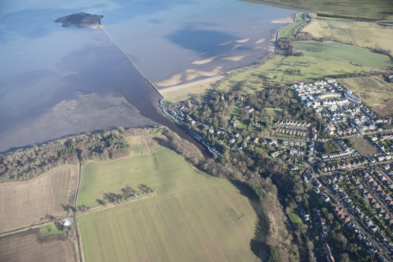 Oblique aerial view of Cramond Village and Cramond Island, looking NE.