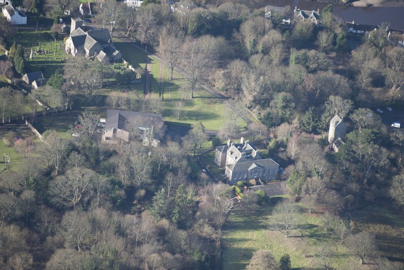 Oblique aerial view of Cramond House and Cramond Tower, looking WNW.