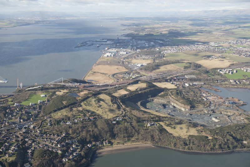 Oblique aerial view of the road works for the new Queensferry Crossing, Cruiks Quarry, Thomas Ward and Sons Shipbreaking Yard and HM Naval Dockyard in Rosyth , looking W.