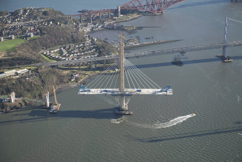 Oblique aerial view of the north tower of the Queensferry Crossing, looking E.
