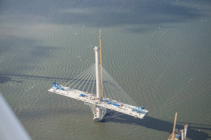 Oblique aerial view of the north tower of the Queensferry Crossing, looking WSW.