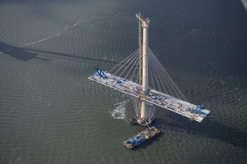 Oblique aerial view of the north tower of the Queensferry Crossing, looking W.