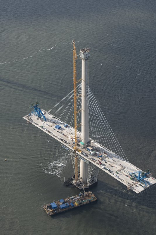 Oblique aerial view of the central tower of the Queensferry Crossing, looking WSW.