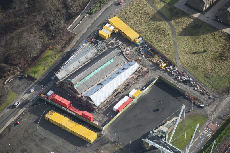 Oblique aerial view of The Engine Shed under construction, looking ESE.